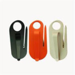 Seat belt cutter with stainless steel blade.